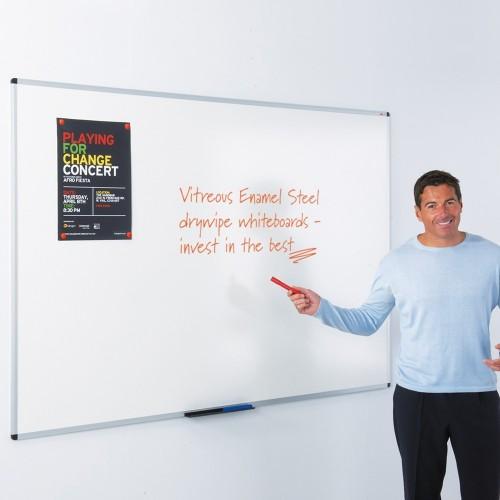 WriteOn Vitreous Enamel Magnetic Steel Aluminium Framed Drywipe Whiteboards
