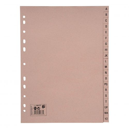 5 Star Eco Index A-Z Recycled Card Multipunched 150gsm A4 Buff464475