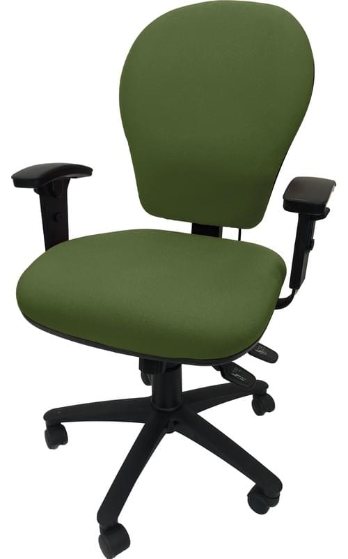 PRO-SIT 7 High Back Task chair with Syncro. Tilt Mech, Inflatable Lumbar Support, Seat Slide and Height Adjustable Arms - Green CSE18