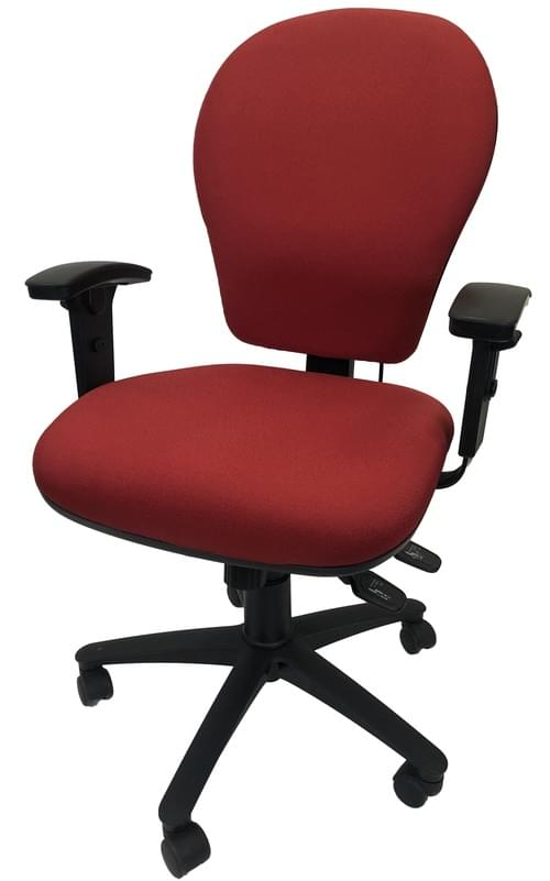 PRO-SIT 7 High Back Task chair with Syncro. Tilt Mech, Inflatable Lumbar Support, Seat Slide and Height Adjustable Arms - Red CSE06