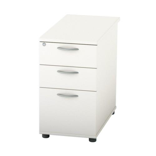 BASICS Deep Desk high Drawer Pedestal - 800mm (Full desk depth) with 2 Std drawer and 1 x Filing drawer - White