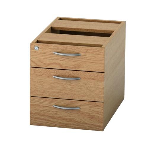 BASICS Fixed Drawer Pedestal with 3 Std drawers - Light Oak