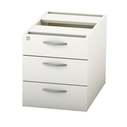 BASICS Fixed Drawer Pedestal with 3 Std drawers - White