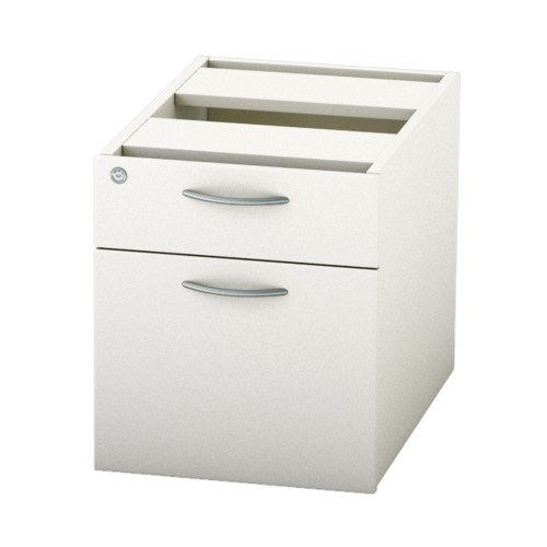 BASICS Fixed Drawer Pedestal with 1 x Std drawer and 1 X Deep filing drawer - White