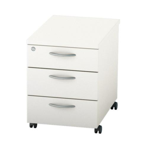 BASICS Mobile under desk Drawer Pedestal with 3 Std drawers - White
