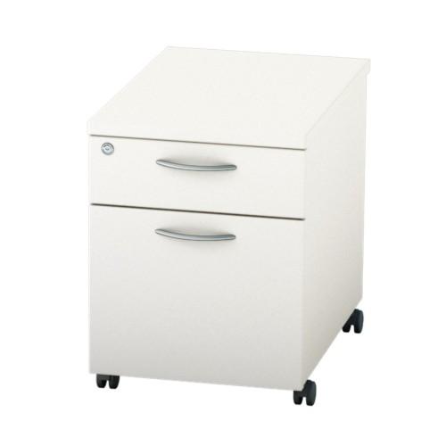 BASICS Mobile under desk Drawer Pedestal with 1 Std drawer and 1 x Filing drawer - Light Oak
