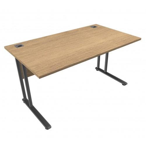 CLASSIC 1400mm wide Rectangular Cantilever Leg Desk - Chester Oak