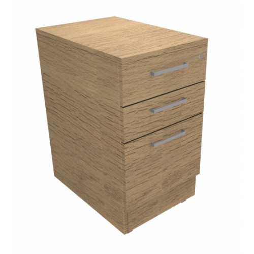 CLASSIC Desk high Drawer Pedestal 600mm deep with 2 Std drawer and 1 x Filing drawer - Chester Oak