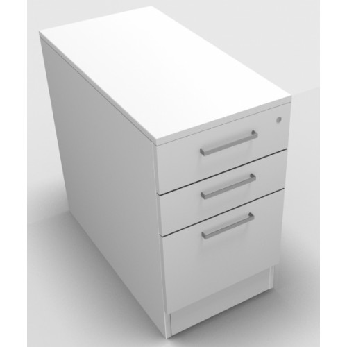CLASSIC Deep Desk high Drawer Pedestal 800mm deep with 2 Std drawer and 1 x Filing drawer - White