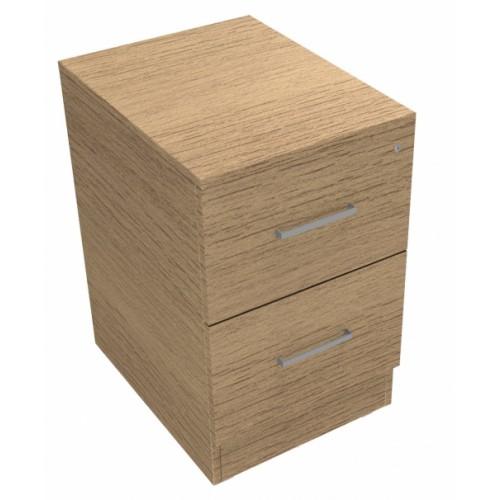 CLASSIC 2 Drawer Filing Cabinet, Lockable, 740mm high x 466mm wide x 600mm deep  - Chester Oak