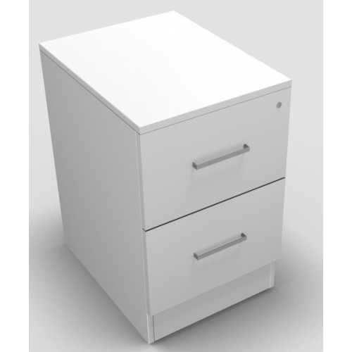 CLASSIC 2 Drawer Filing Cabinet, Lockable, 740mm high x 466mm wide x 600mm deep  - White