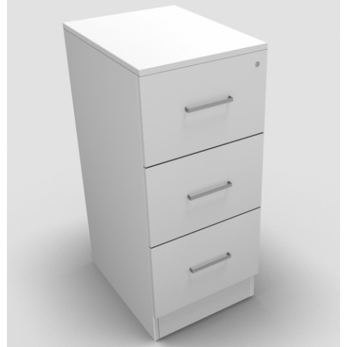 CLASSIC 3 Drawer Filing Cabinet, Lockable, 1069mm high x 466mm wide x 600mm deep  - White