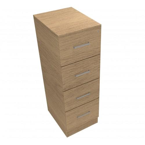 CLASSIC 4 Drawer Filing Cabinet, Lockable, 1398mm high x 466mm wide x 600mm deep  - Chester Oak