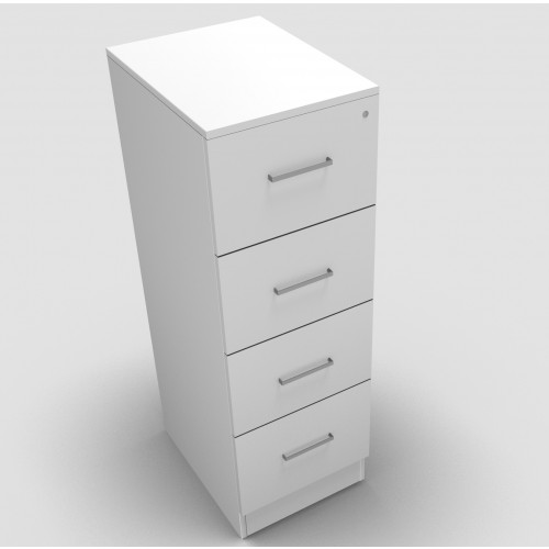 CLASSIC 4 Drawer Filing Cabinet, Lockable, 1398mm high x 466mm wide x 600mm deep  - White