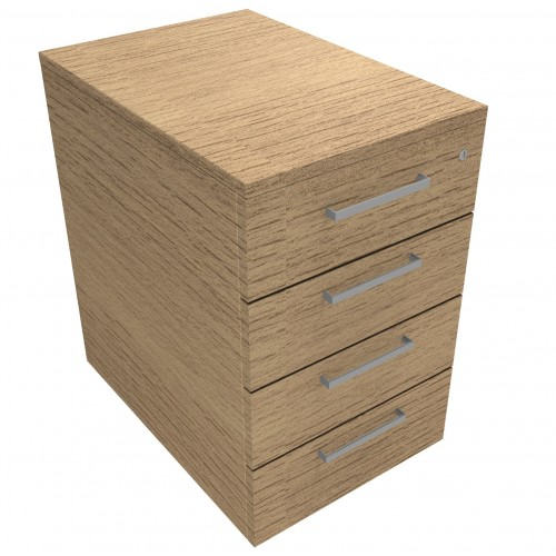 CLASSIC Mobile under desk Drawer Pedestal with 4 Std drawers - Chester Oak