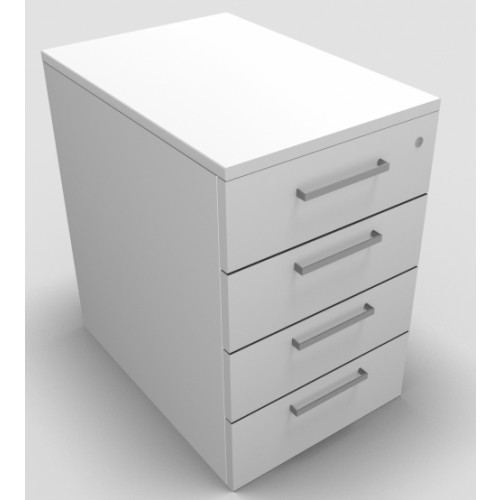 CLASSIC Mobile under desk Drawer Pedestal with 4 Std drawers - White