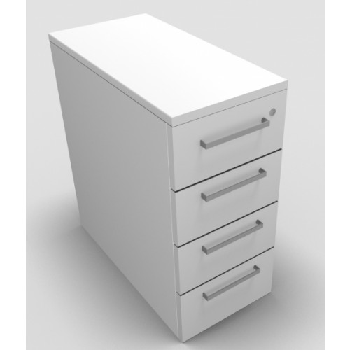 CLASSIC Narrow Mobile under desk Drawer Pedestal with 4 Std drawers - White