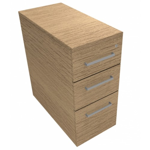 CLASSIC Narrow Mobile under desk Drawer Pedestal with 2 Std drawers and 1 x Filing drawer - Chester Oak