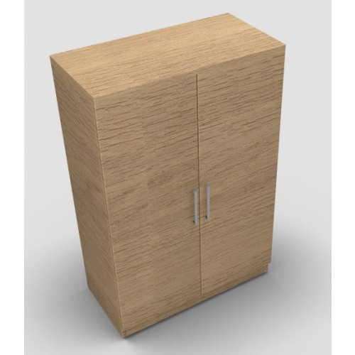 CLASSIC 2 Door Stationery Cupboard 1200mm high x 800mm wide x 400mm deep, lockable supplied with 2 keys  - Chester Oak
