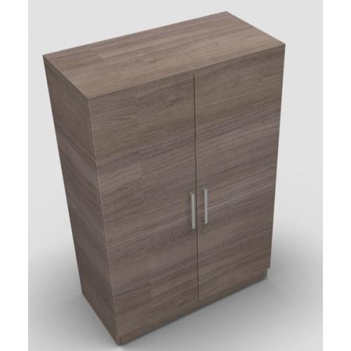 CLASSIC 2 Door Stationery Cupboard 1200mm high x 800mm wide x 400mm deep, lockable supplied with 2 keys  - English Walnut
