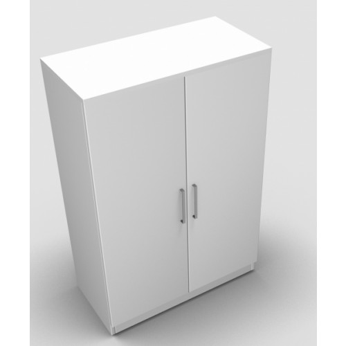 CLASSIC 2 Door Stationery Cupboard 1200mm high x 800mm wide x 400mm deep, lockable supplied with 2 keys  - White