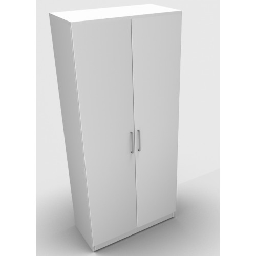 CLASSIC 2 Door Stationery Cupboard 1800mm high x 800mm wide x 400mm deep, lockable supplied with 2 keys  - White