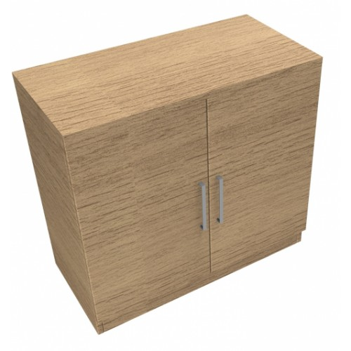 CLASSIC 2 Door Stationery Cupboard 740mm high x 800mm wide x 400mm deep, lockable supplied with 2 keys  - Chester Oak