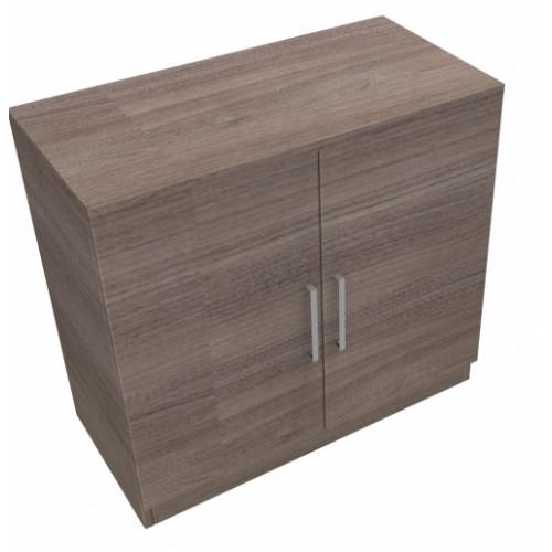 CLASSIC 2 Door Stationery Cupboard 740mm high x 800mm wide x 400mm deep, lockable supplied with 2 keys  - English Walnut