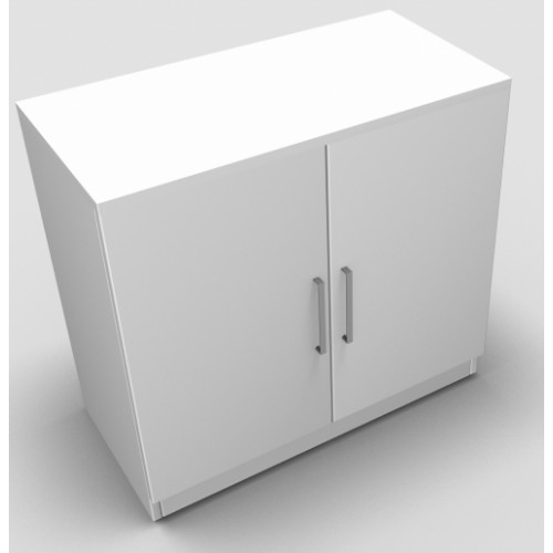 CLASSIC 2 Door Stationery Cupboard 740mm high x 800mm wide x 400mm deep, lockable supplied with 2 keys  - White
