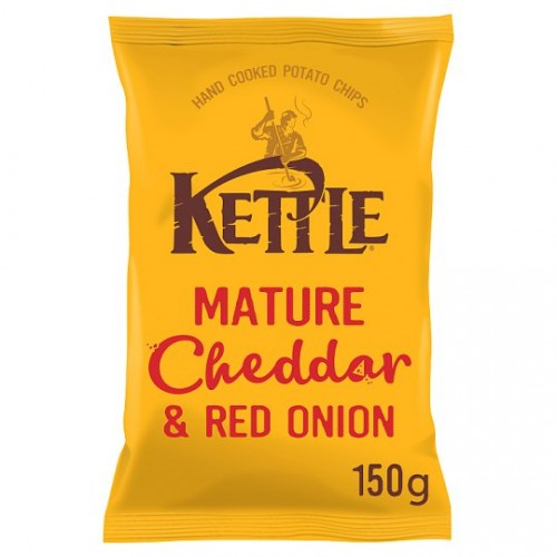 Kettle Chips Mature Cheddar & Red Oinon 150g  Case of 12
