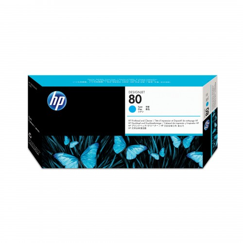 HP No. 80 Ink Printhead and Cleaner - Cyan - 400ml