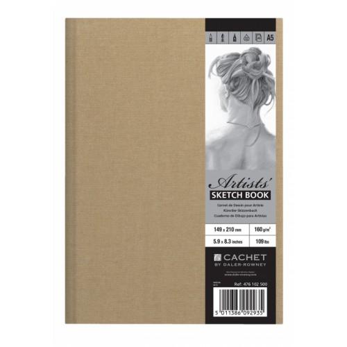 Daler Cachet Artist's Linen Sketchbook A5 Mocha 160gsm 40s hardback