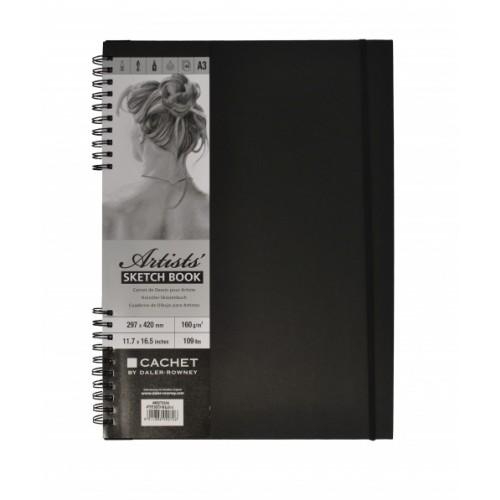 Daler Cachet Artist's Spiral Sketchbook W/Bound A3 Black 160gsm 40s