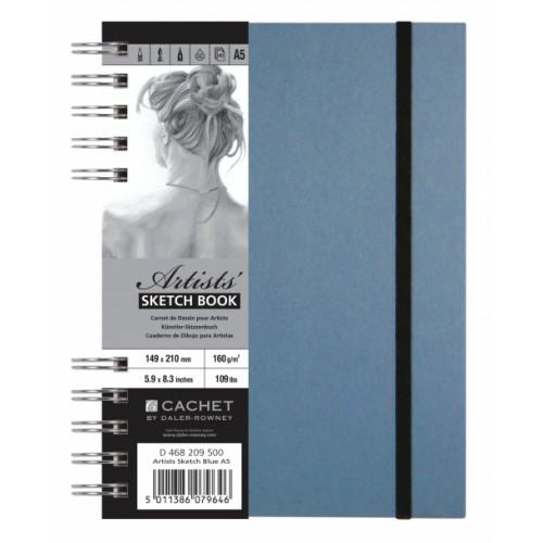 Daler Cachet Artist's Spiral Sketchbook W/Bound 20x20cm Blue 160gsm 40s
