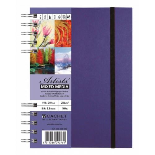 Daler Cachet Artist's Mixed Media Spiral Sketchbook 20x20cm Amethyst 250gsm 30s