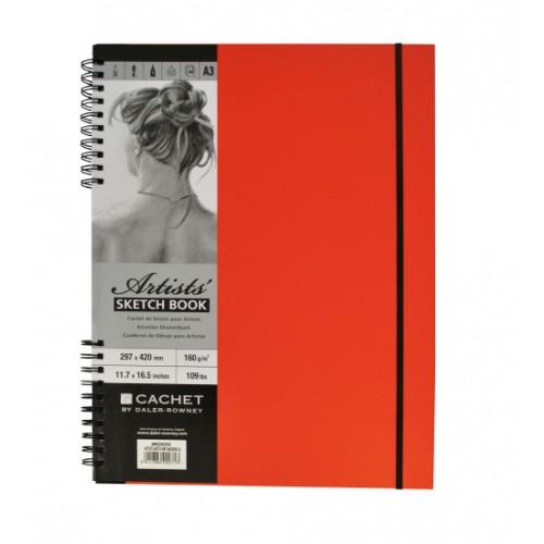 Daler Cachet Artist's Spiral Sketchbook W/Bound 20x20cm Tangerine 160gsm 40s