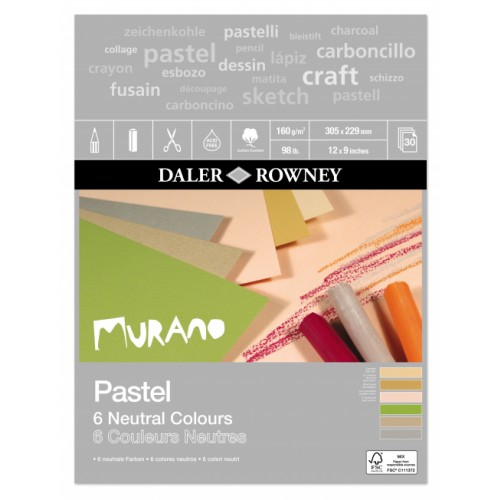 Daler Murano Pastel Neutral Colour Paper Pad 12x9 (438031209) 160gsm 30s