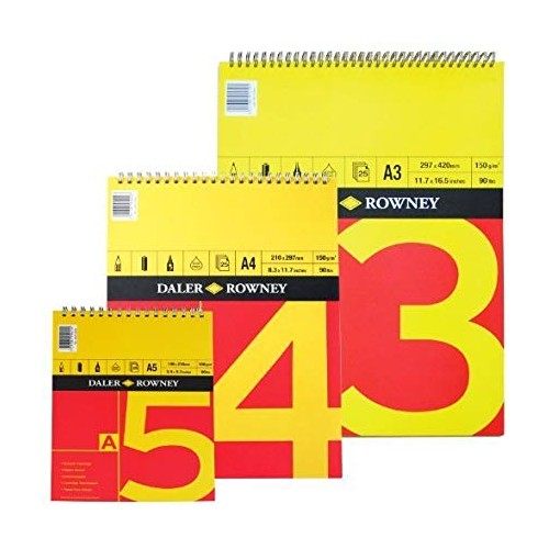Daler Red & Yellow Spiral Cartridge Pad A3 150gsm (405010300) 25 sheets