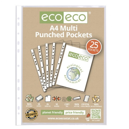 Eco Eco Pack 25 A4 100% Recycled 45 Microns Multi Punched Pockets