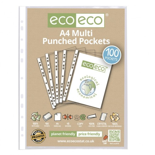 Eco Eco Pack 100 A4 100% Recycled 45 Microns Multi Punched Pockets