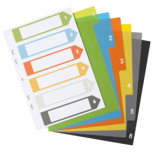 Eco Eco A5 Set 6 50% Recycled Index File Dividers
