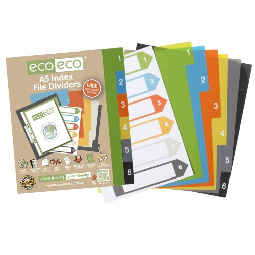 Eco Eco A5 Set 6 Wide 50% Recycled Index File Dividers