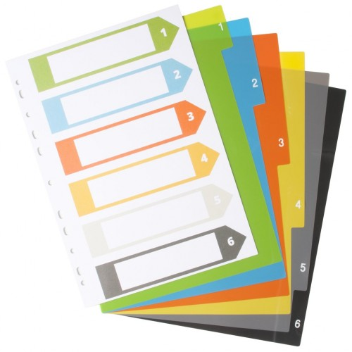 Eco Eco A4 Set 6 50% Recycled Index File Dividers