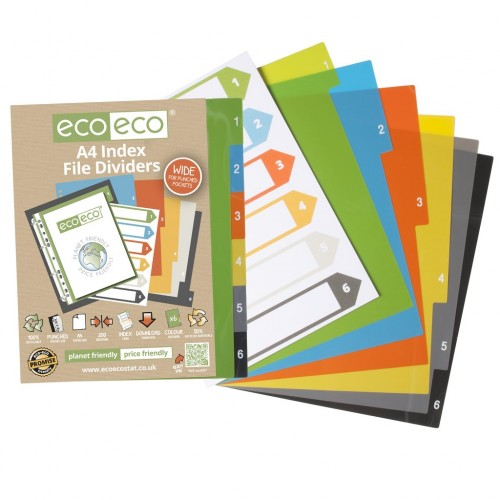 Eco Eco A4 Set 6 Wide 50% Recycled Index File Dividers