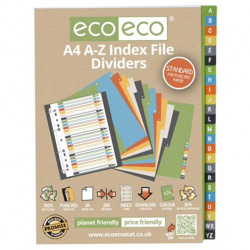 Eco Eco A4 Set 24 A-Z 50% Recycled Index File Dividers