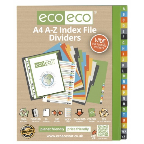Eco Eco A4 Set 24 A-Z Wide 50% Recycled Index File Dividers