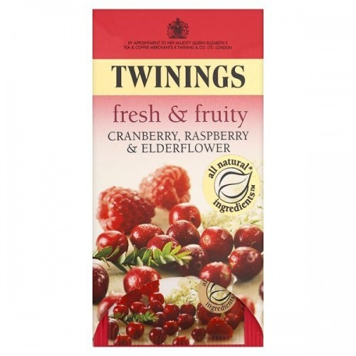 Twinings Fresh & Fruity Cranberry, Raspberry & Elderflower 20 Teabags 40g Case of 12