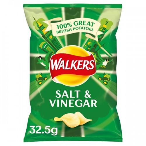 Walkers Salt and Vinegar Flavour Crisps 32.5g Case of 32 (201625)