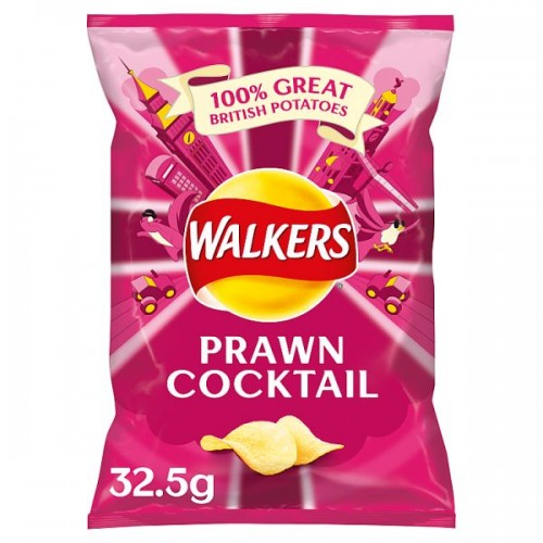 Walkers Prawn Cocktail Flavour Crisps 32.5g Case of 32  (201623)