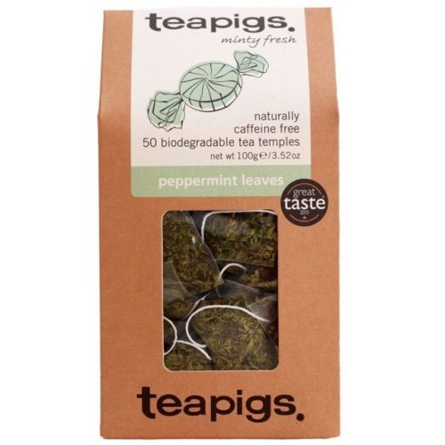 Teapigs Peppermint Leaves 50 Biodegradable Tea Temples 100g Pack 6